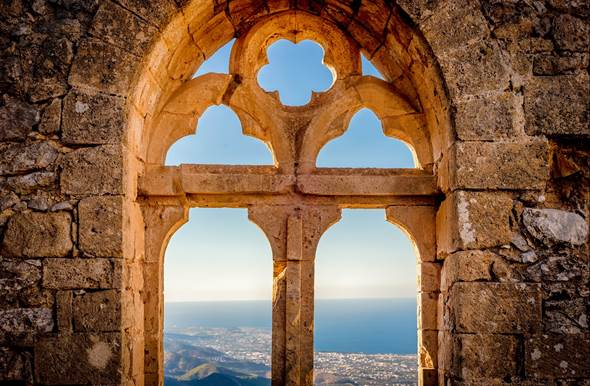 beautiful window st hilarion castle