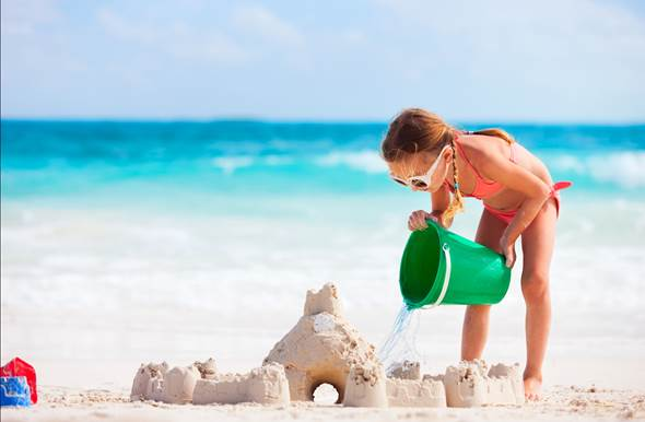 sand castle child beach sea