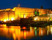 kyrenia old harbour night lights