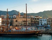 panoramic view kyrenia old harbour